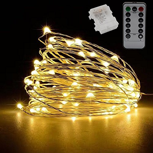 YOMM Flexible Fairy String Lights Battery Operated Waterproof with Remote Control 8 Modes 100 LED String Lights 10M/32.8FT Copper Wire Firefly Lights (Yellow) by YOMM