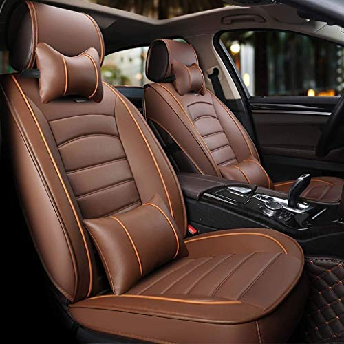 Car seat covers, set of 5 Front seats and rear seats made of universal leather, breathable with padding (color: brown):