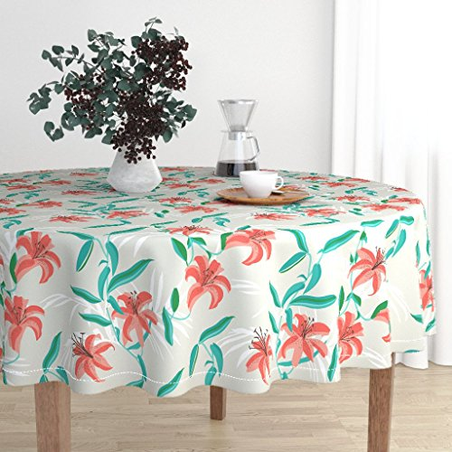 Roostery Round Tablecloth - Tiger Lily Coastal Tropical Flower Floral Holli Zollinger by Holli Zollinger - Cotton Sateen Tablecloth 90in