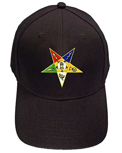 Order of the Eastern Star - Black Baseball Cap with Colorful Standard OES symbolism - Masonic Hat One Size Fits Most Adults (Red)