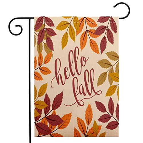 Bavarian Walnut - BEIVIVI Custom Double Sided Seasonal Garden Flag Fall Background with Autumn Walnut Leaves, Hello Fall Text Garden Flag Waterproof for Party Holiday Home Garden Decor