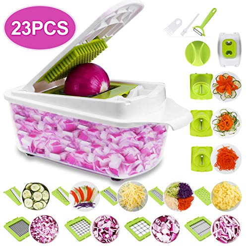 (Sedhoom 23 in 1 Vegetable Chopper Food Chopper Onion Chopper Mandoline Slicer w/ Large Container, 2nd Generation)