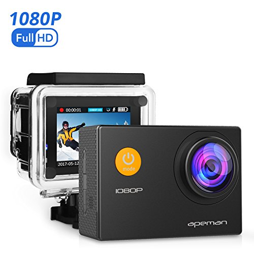 APEMAN Action Camera 1080P Full HD 12MP Waterproof Underwater Cam/Sony Sensor/170 Wide-Angle Lens/Rechargeable Battery/30M Waterproof Case/Mounting Accessory Kits