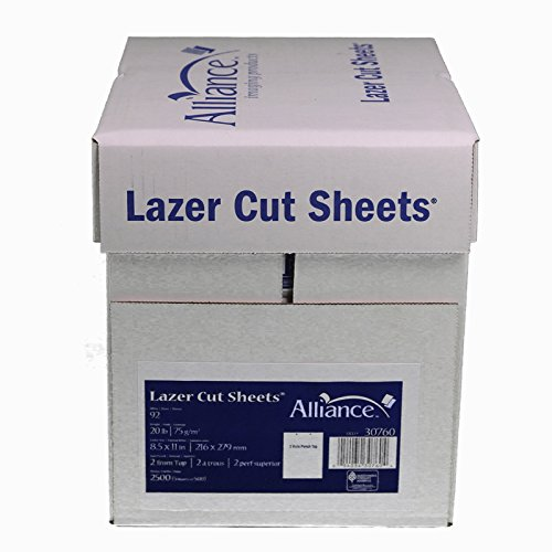 Laser Cut Sheet Paper 8-1/2'' x 11'', 2 Hole Punch Top 20 lb. 2500 Sheets per Carton, 80 Cartons per Pallet, Per Pallet Pricing by Alliance (Image #1)