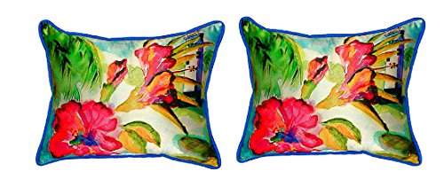 Pair of Betsy Drake Lighthouse and Florals Small Indoor/Outdoor Pillows price