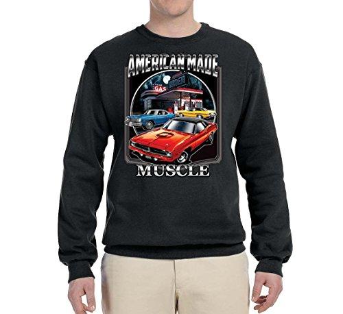 Wild Bobby American Made Muscle | Mens Planes/Trains/Automobiles Crewneck Graphic Sweatshirt, Black, Medium (Plane Graphics)