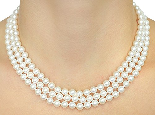 14K Gold Japanese Akoya White Cultured Pearl Triple Strand Necklace - AAA Quality, 16-17-18'' Length by The Pearl Source (Image #2)