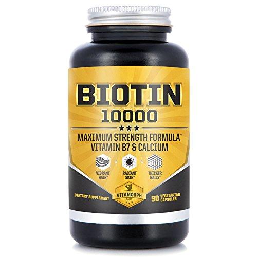 Biotin 10000 for Hair Skin & Nails | Maximum Potency Biotin Vitamin B7 with Calcium | Supports Healthy Hair, Vibrant Skin & Thicker Nails | 90 Vegetarian Capsules