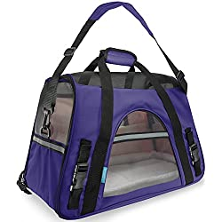 Paws and Pals Airline Approved Pet Carriers w/ Fleece Bed For Dog & Cat - Soft Sided Kennel - 2018 Newly Designed - Small, Purple