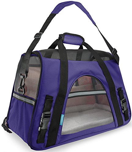 OxGord Airline Approved Pet Carriers w/ Fleece Bed For Dog & Cat - Medium, Soft Sided Kennel - 2016 Newly Designed Model, Lavender Purple