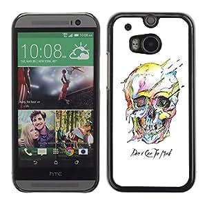Shell-Star Arte & diseño plástico duro Fundas Cover Cubre Hard Case Cover para HTC One M8 ( Watercolor Skull White Death Robot )