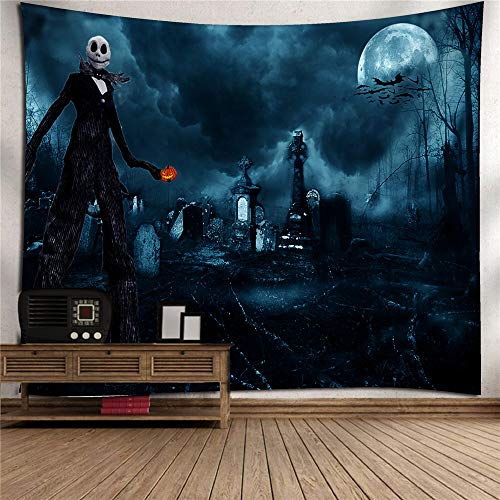 SXHDMY-tapestry Halloween Wizard Pumpkin Tapestry Hanging Cloth Wall Covering Digital Printing Mural Tablecloth TV Background Wall Art Wall Decoration Home Bedroom Living Room Children's Room -