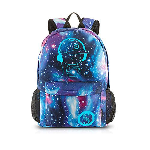 School Backpack Cool Luminous School Bag Unisex Galaxy Laptop Bag with Pencil Bag for Boys Girls Teens - Blue ()
