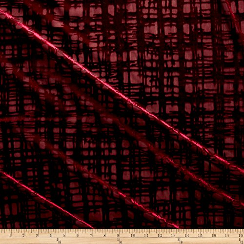 Burnout Fabric - TELIO Gridiron Stretch Velvet Burnout Geo Fabric by the Yard, Burgundy
