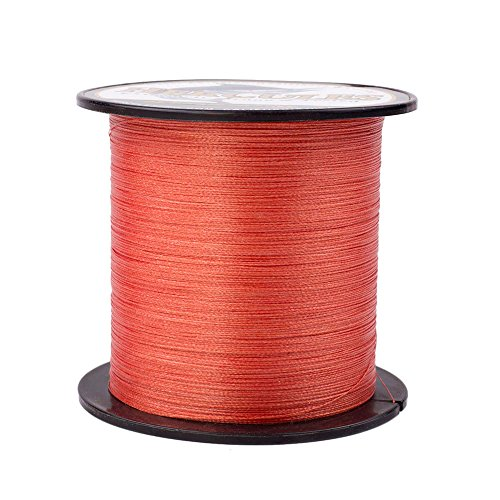 HERCULES Super Strong 500M 547 Yards Braided Fishing Line 8 LB Test for Saltwater Freshwater PE Braid Fish Lines 4 Strands - Red, 8LB (3.6KG), 0.10MM