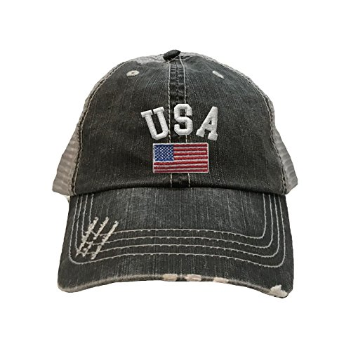 Go All Out Screenprinting One Size Black/Grey Adult USA National Pride Embroidered Distressed Trucker - Hat Usa Team Trucker