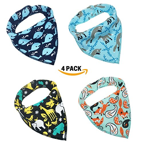 [Honey Molly Baby Bandana Drool Bibs for Boys and Girls 4 Pack -Unisex Bandana Bibs with Adjustable Snap for Drooling And Teething -100% Organic Cotton, Soft & Absorbent -Great Gift Set for Baby] (Homemade Costumes Funny)