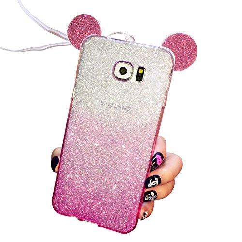 Funda tapa trasera para Samsung Galaxy S7, Vandot Funda 360 Doble Delantera + Trasera Transparente Silicona Gel Integral para Galaxy S7, Two Cristal Crystal Centelleo Cover Funda Caja del TPU Silicona Gradient Rose Rosa