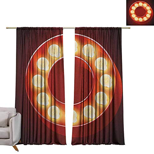 (berrly Thermal Insulating Blackout Curtain Letter O,Entertainment World in Vegas Theme Vintage Casino Nightclub Theater Typeset, Ruby Yellow Black W72 x L84 Waterproof Window Curtain)