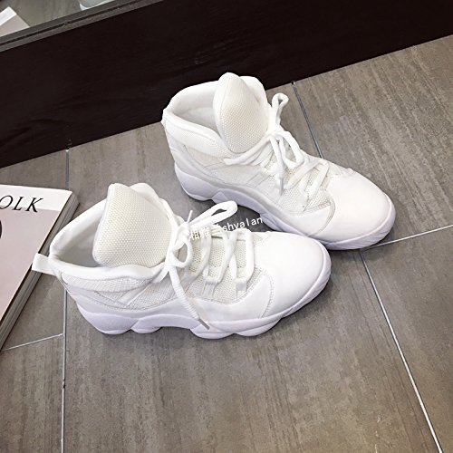 GUNAINDMXLeisure/Sports/Women Shoes/Increase/Net Cloth/Spring/Autumn/Help/Air Permeability The white linter flat with 3cm