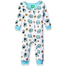 Sesame Street Elmo Cookie Monster Sleeper Pajamas (12 Months, Cookie White/Blue)