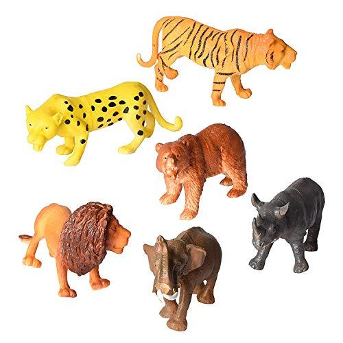Playkidz Animal Figure, 8 Jumbo Jungle Animal Toy Set (6Piece), Toys Realistic Wild Vinyl Animal for Kids Toddler Child, Plastic Animal Party Favors Learning Forest Farm Animals Toys Playset