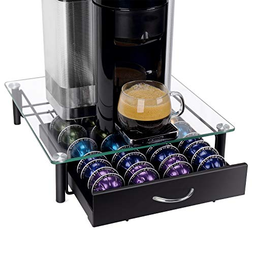 GEESTA Solid Iron Drawer and Tempered Glass Top Large-Capacity Nespresso Coffee Capsule Storage Drawer Holder, Fits Up to 40 Nespresso Pods