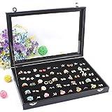 Wuligirl Glass Top 100 Slot Ring Storage Box Jewelry Tray Display Box Storage Stackable (100 Slot Rings Box)