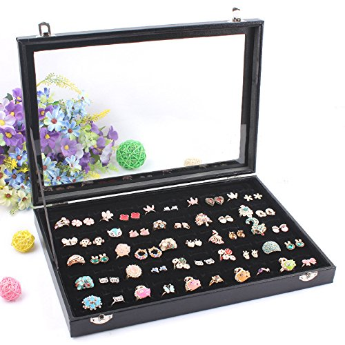 Wuligirl Glass Top 100 Slot Ring Storage Box Jewelry Tray Display Box Storage Stackable (100 Slot Rings (Cheap Wholesale Items)
