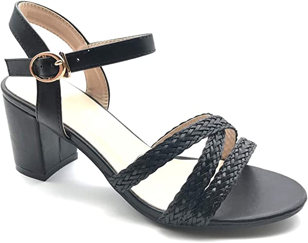 Chaussure Haut Mode Talon Talons tressé Bride Bloc Femme Ouvert Multi Escarpin Sandale Petits Angkorly Plateforme Y6v7gbfy