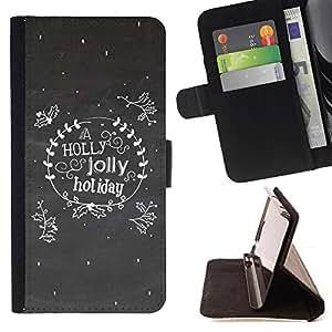 BullDog Case - FOR/Sony Xperia M2 / - / A Holly Jolly Holiday Vintage /- Monedero de cuero de la PU Llevar cubierta de la caja con el ID Credit Card Slots Flip funda de cuer