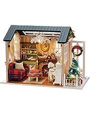 KKmoon DIY Kit de casa de bonecas em miniatura de Natal Mini realista 3D Casa de madeira artesanato com mobília Luzes LED Presente de aniversário de dia das crianças Decoração de Natal