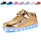 Kids USB Charging Light Up LED Shoes Flashing Sneakers For Boys Girls Walking Shoes Luminous (Gold 2.5 M US Little Kid)