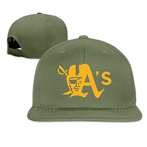 Custom Mascot Costumes Design (LINNA Custom Unisex Oakland Sport Baseball Logo Mixed Casual Baseball Visor Cap ForestGreen)