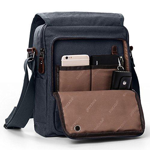 Canvas Messenger Bag Shoulder Crossbody Bag with 2 Side Pocekts for Pen, Cell Phone Magictodoor