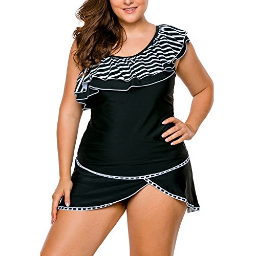 3925dfb4bafde SYBKNSTW Womens Tribal Print Ruffle One Shoulder Tankini Top and Black  Pantskirt Swimsuit