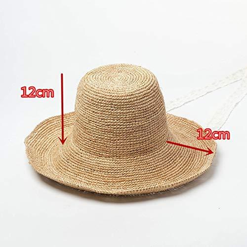 AnnTey Shop Handmade White lace Long Ribbon Leisure Beach Lady Bucket Cap Women Holiday hat