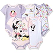 Disney Baby Minnie Mouse 5 Pack Bodysuits, Multi/Lavender Combo, 12M