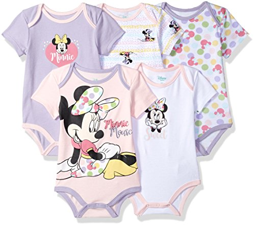Disney Baby Minnie Mouse 5 Pack Bodysuits, Multi/Lavender Combo, 12M -