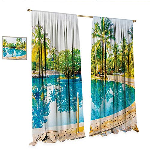 WinfreyDecor Landscape Decorative Curtains for Living Room Umbrella and Chair Around The Round Pool Tourist Space Famous Spots Concept Room Darkening Wide Curtains W96 x L84 Green Blue Cream.jpg