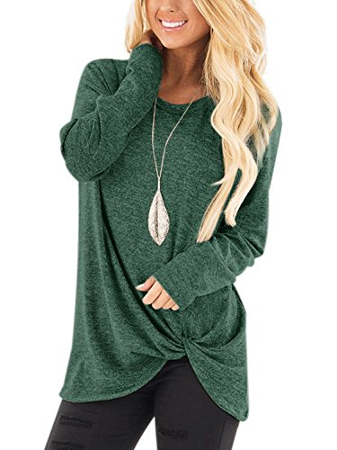YOINS Women Tops Crossed Front Twist Design Round Neck Long Sleeves Knits Tees Loose Fit Irregular Hem Fashion T-Shirts