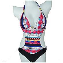 Retro Sexy temptation Women's Resort Halter One-piece Bikini