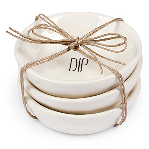 Mud Pie Ceramic Tidbit Condiment Dipping Plates, White by Mud Pie (Image #1)