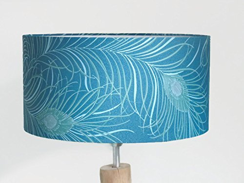 abat-jour Plumes de Paon Luminaire diamètre personnalisé cylindre rond idée cadeau anniversaire décoration exotique tropical