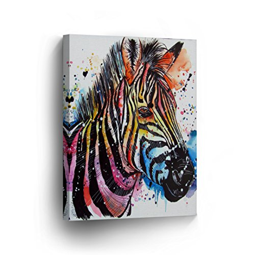 Colorful Rainbow Striped Zebra Painting CANVAS PRINT Picture Home Decorative Art Wall Home Decor Artwork Wrapped Wood Stretcher Bars - Ready To Hang %100 Handmade in the USA