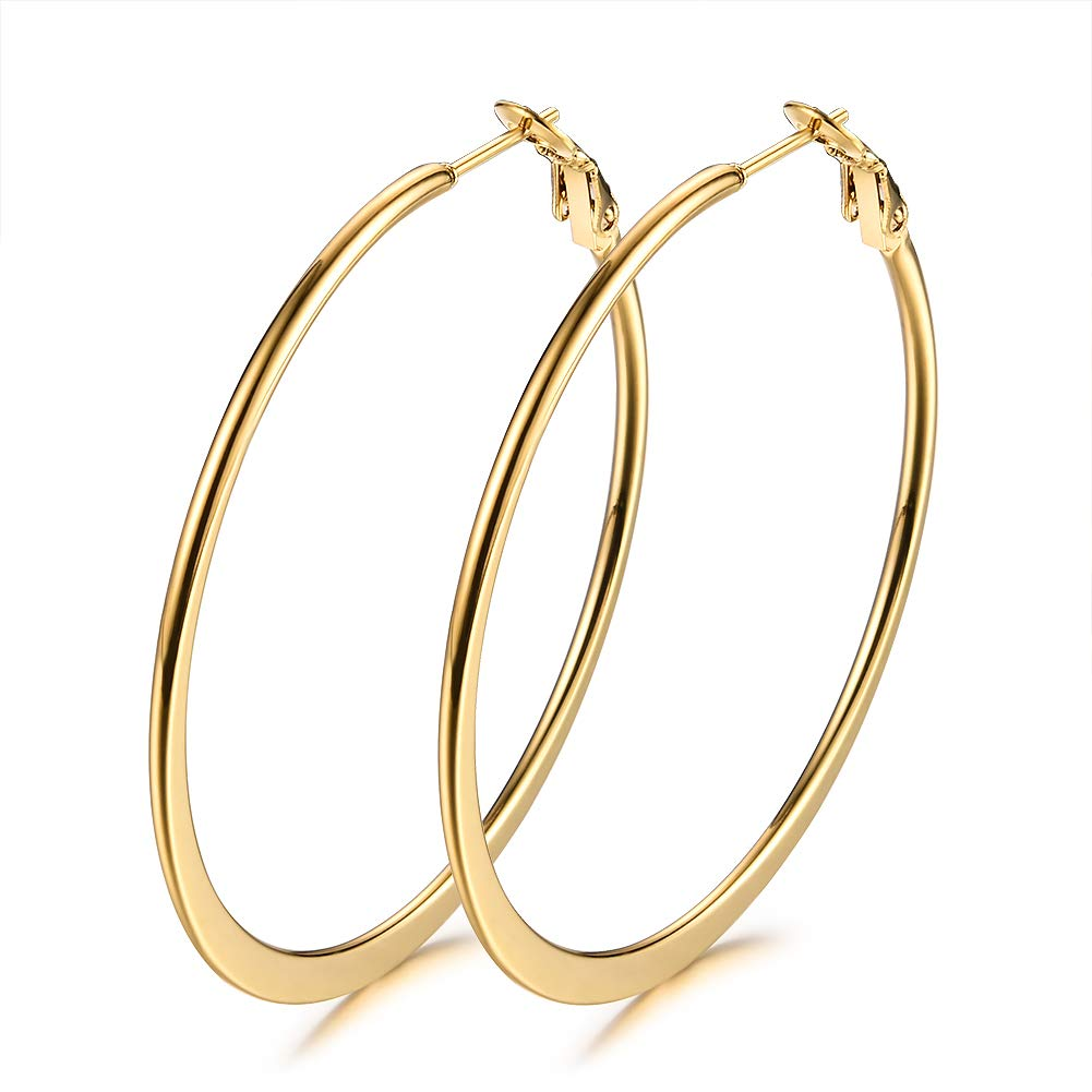 Stainless Steel Hoop Earrings, Gold Plated Rose Gold Plated Silver Plated For Women JunXin