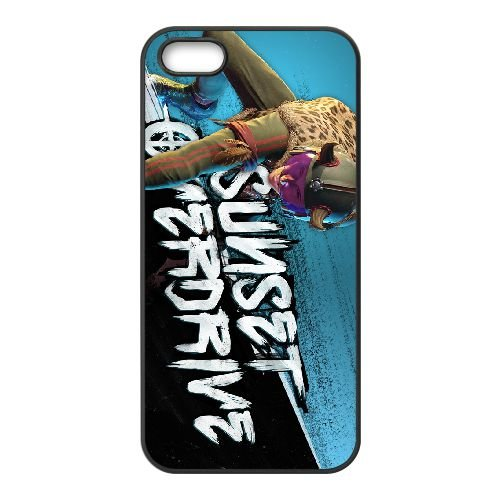 Sunset Overdrive 5 coque iPhone 5 5s cellulaire cas coque de téléphone cas téléphone cellulaire noir couvercle EEECBCAAN06004