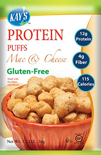 Kays Naturals Protein Puffs, Mac & Cheese, Gluten-Free, Low Carbs, Low Fat, All Natural Flavorings, 1.2 Ounce (Pack of 60)