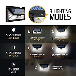 Solar Lights Outdoor - Motion Sensor Light - Outdoor Lighting Led - Solar Led Lights Outdoor - Wireless Solar Outdoor Security Lights - 34 LEDs Security Lights with Motion Detector - Solar Flood Light