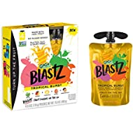GoGo squeeZ BlastZ Fruit Pouches on the Go, Tropical Burst, 3.88 Ounce (24 Pouches), Gluten Free, Vegan Friendly, Unsweetened, Recloseable, BPA Free Pouches (Package May Vary)